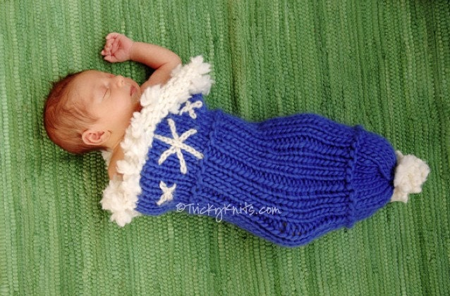 Let it Snow Cocoon Hannukah Holiday Winter Newborn Custom Handknit Photography Prop
