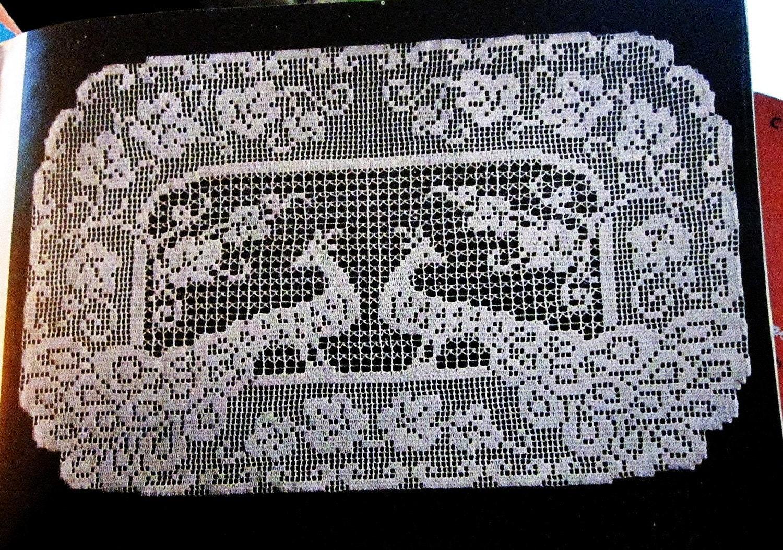 Crochet Pattern Filet Crochet Peacock Buffet Scarf by ...