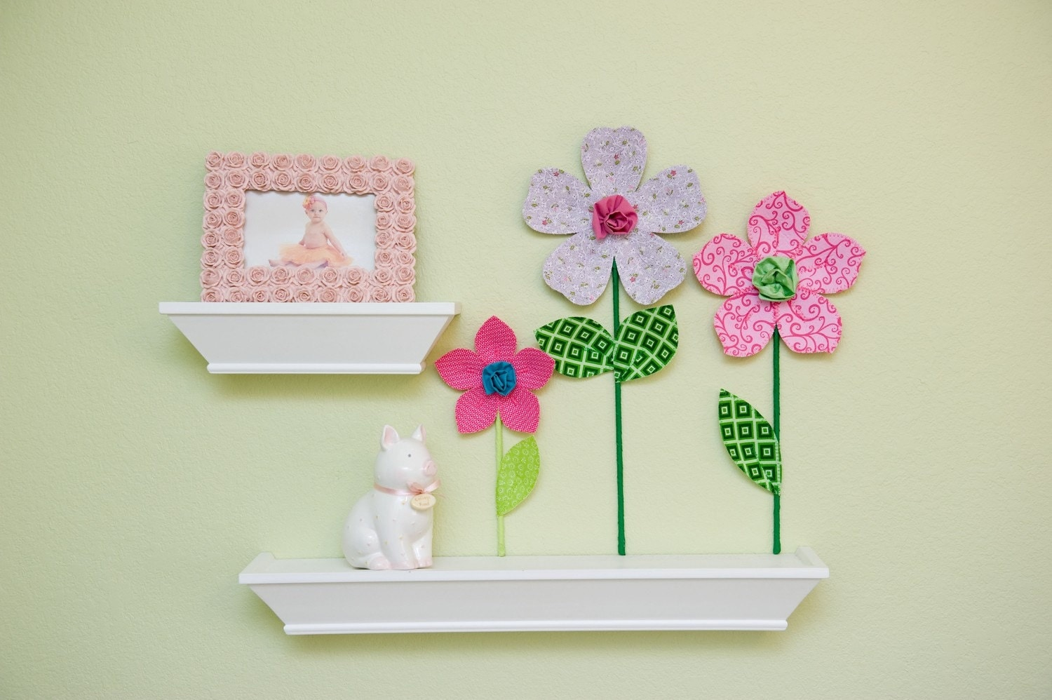 fabric wall flower. 3d wall decor. valentine's day. pink. scrolls