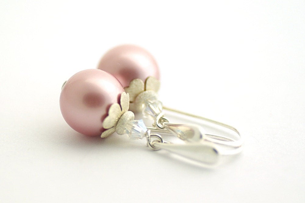 Mothers Day, Pearl Earrings, Swarovski Crystals and Pearls, Wedding Jewelry, sterling silver 925, pastel pink,