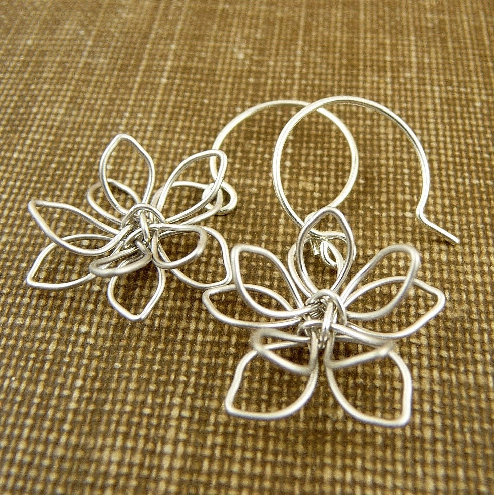 wildflower - twisted silver wire flower earrings