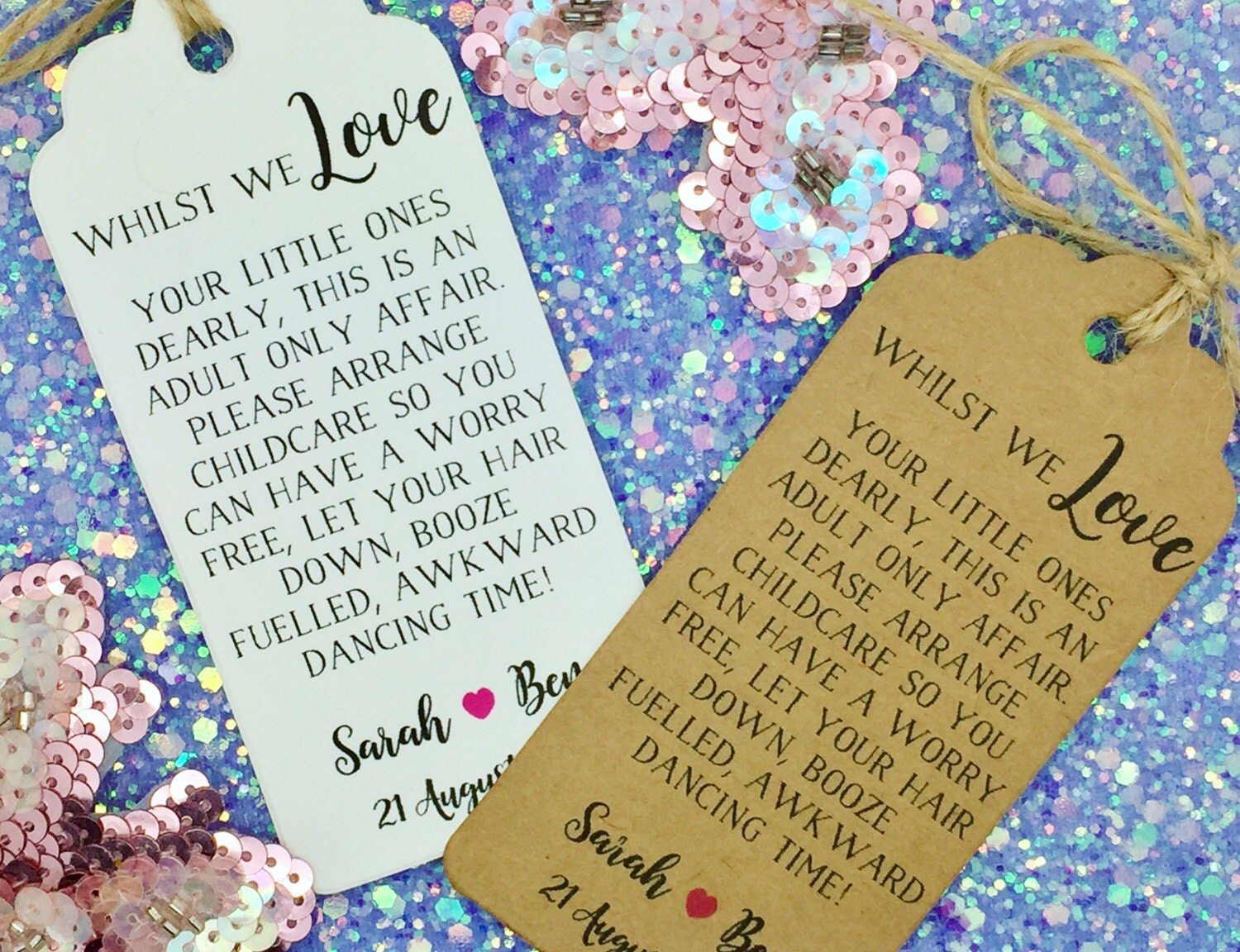 Wedding No Kids  Kids Free Request Poem Card Favour Gift Tag Personalised