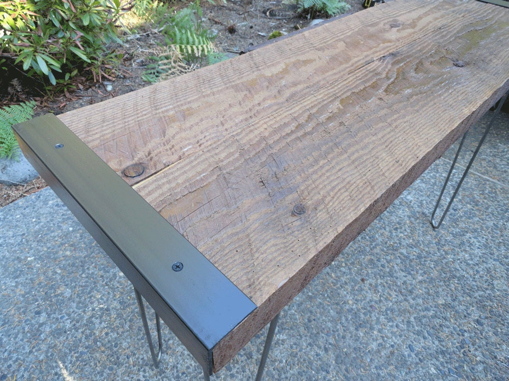 Industrial Sofa Table from salvaged barnwood with hairpin legs