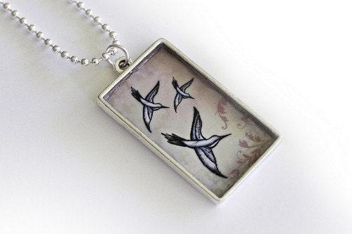 Custom Hummingbird Art Pendant