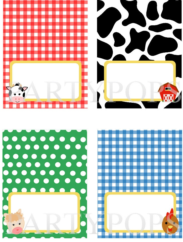 Diy Farm Party Food Label Name Place Card Tabel Tent By