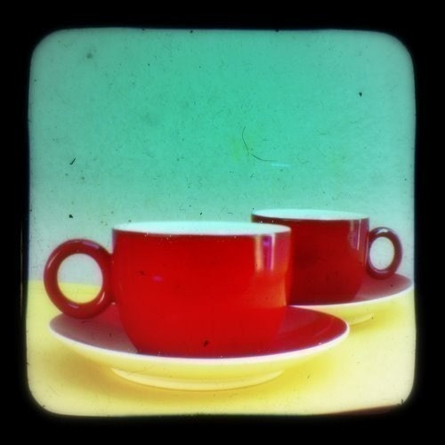 Red Coffee Cups Photography Print 4 x 4 Espresso Vintage Retro Wall Art