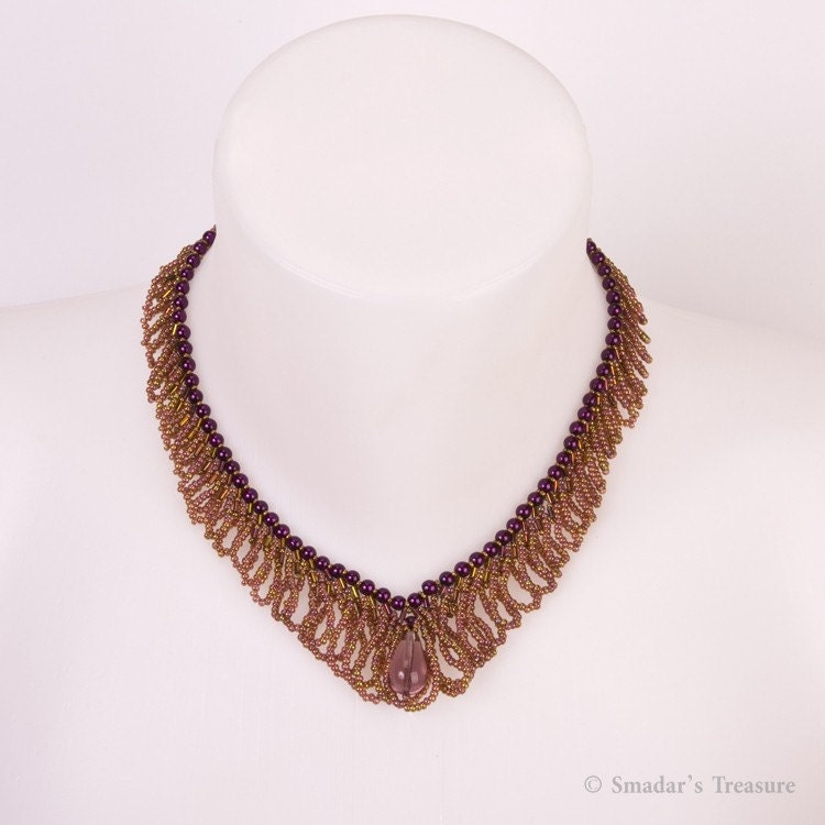 Purple, Pink and Bronze V Shape Fringe Necklace