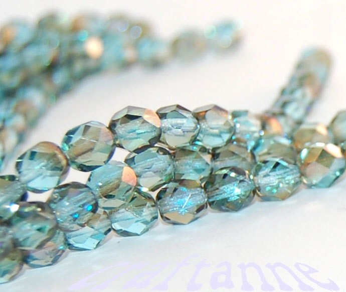 6mm Aquamarine Celsian Teal Blue Green Firepolish Czech Glass Fire Polished Beads, Two Strands (Approx. 50 Beads) and Free Shipping - craftanne