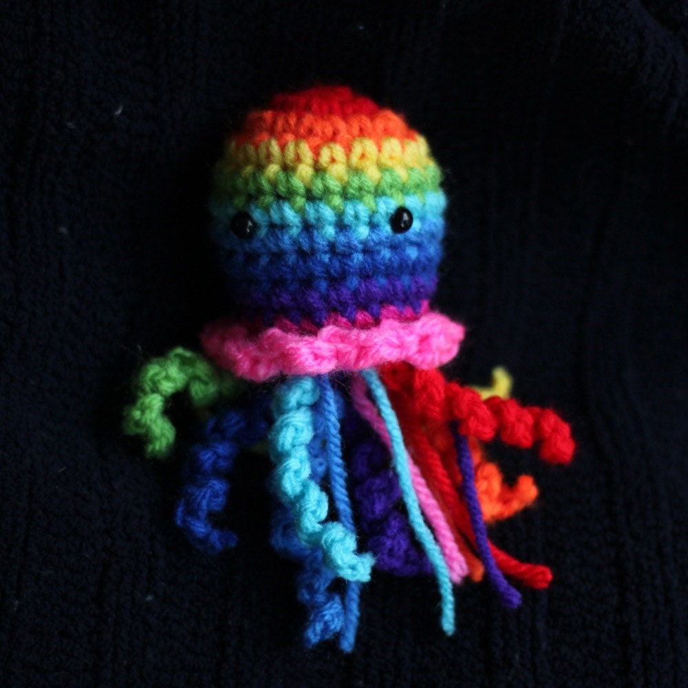 Rainbow Amigurumi Jellyfish by alyssacritters on Etsy