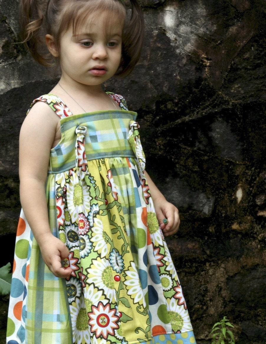 دختران کودک نو پا گلبرگ گره لباس گل و 3T پارچه پیچازی (آماده به کشتی)