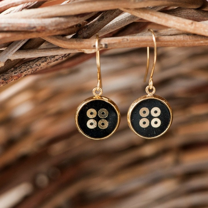 Circle Sequin Earrings, Small Drop Earrings, Black and Gold Paper Earrings, Round Dangle Earrings - efratim