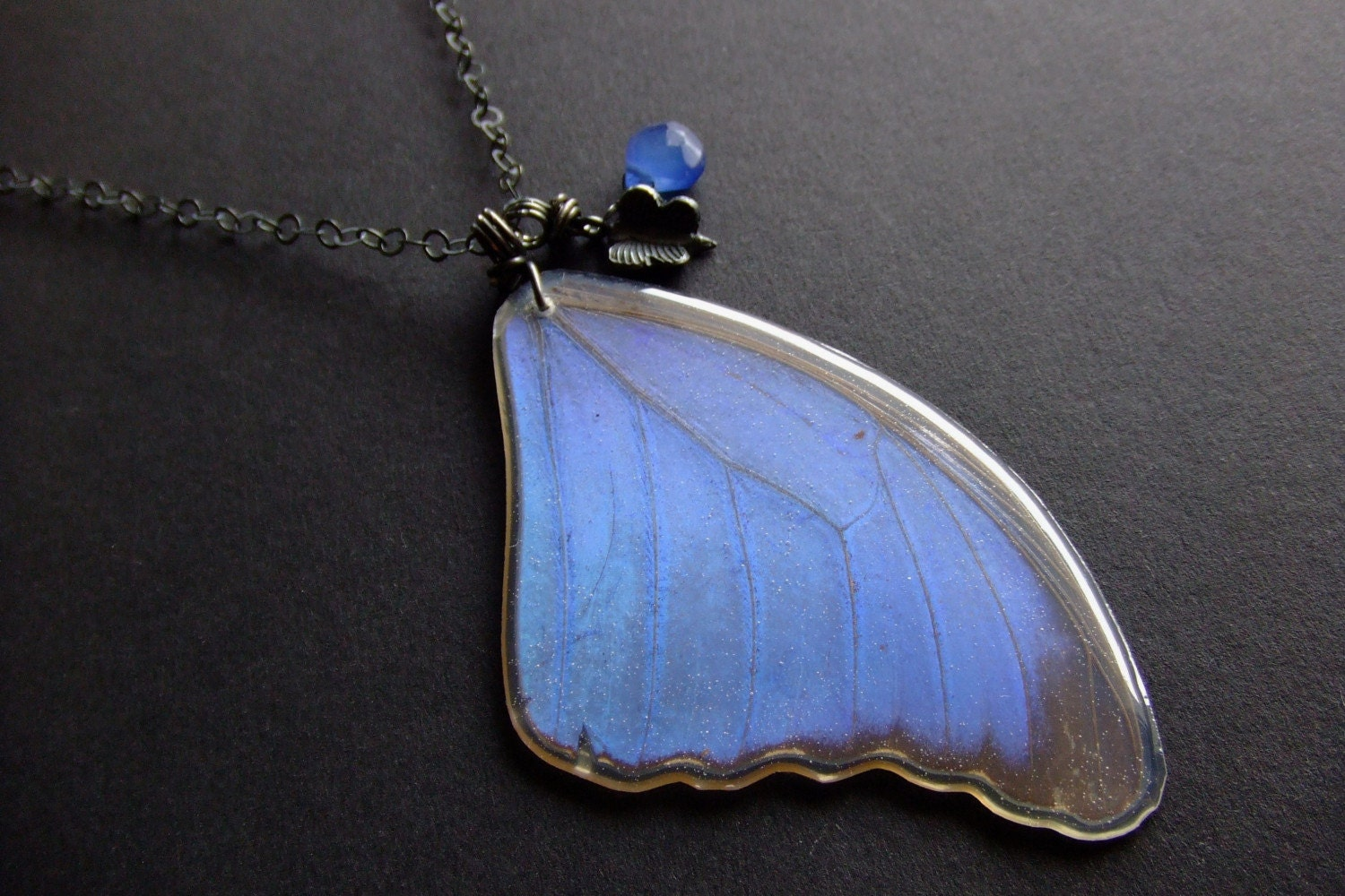 Handmade Jewelry on Etsy - BUY 2 GET 1 FREE SALE-- real preserved morpho menelaus butterfly wing necklace by BelaBrazilianDesigns from etsy.com