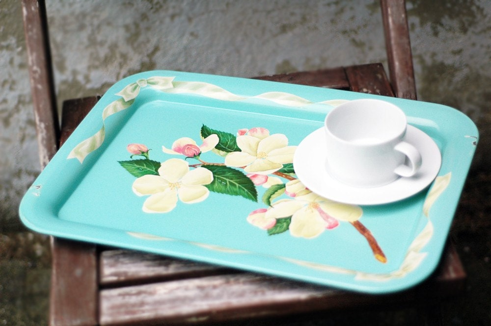 Vintage Metal Lap Tray in Turquoise-Mint Blue with Magnolia Flowers