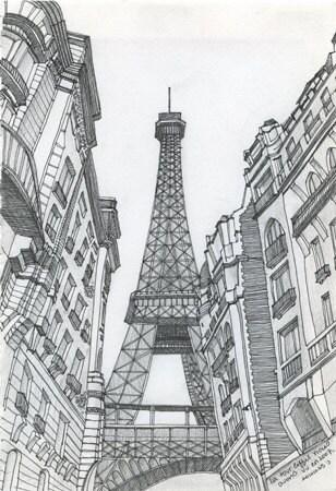 Eiffel Tower Ink Sketch