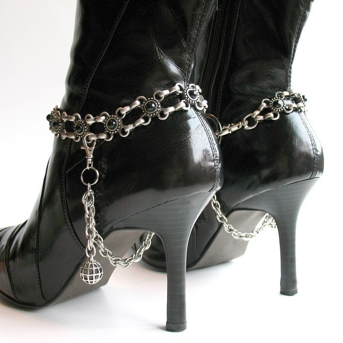 Boot Chains - Eco-Friendly Victorian Black Metal Flowers by greenbelts on Etsy from etsy.com