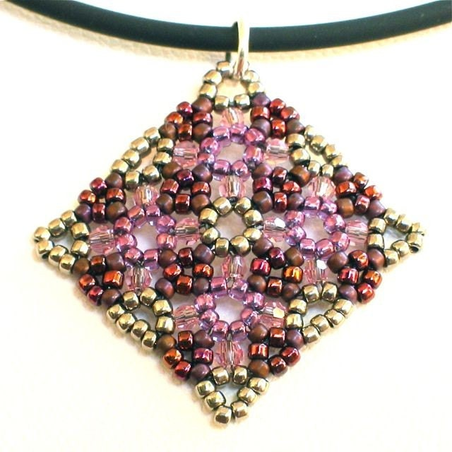Rosy Picnic Bead Woven Pendant -- Burgundy Purple Brown Silver