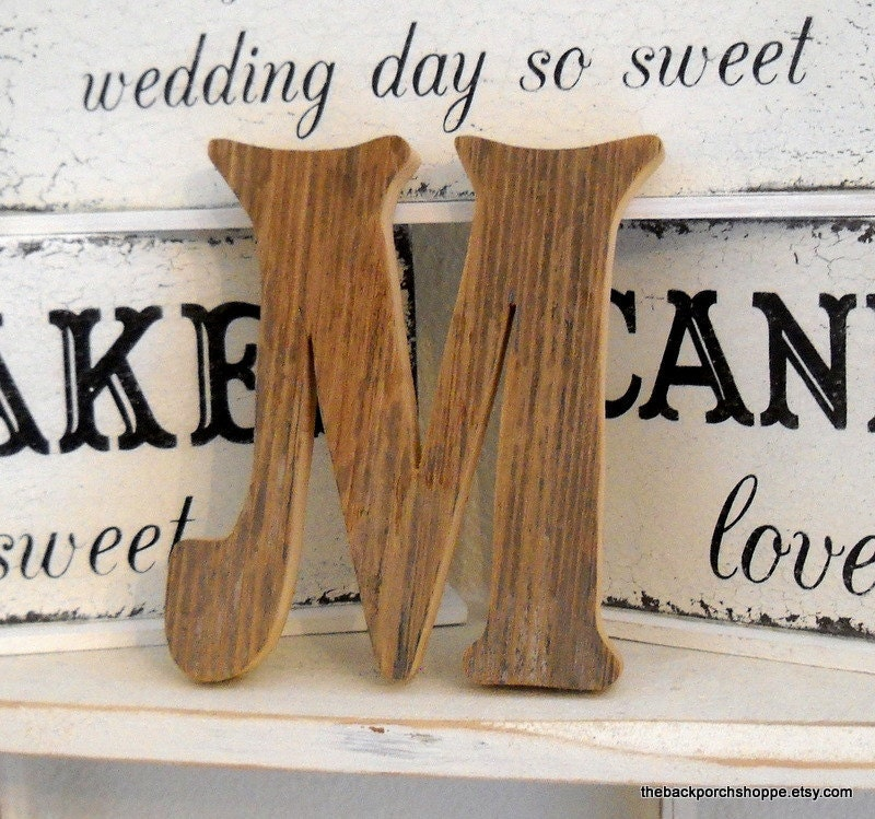 Rustic Wedding Cake Topper 6 in high Reclaimed Wood Any Letter A Z