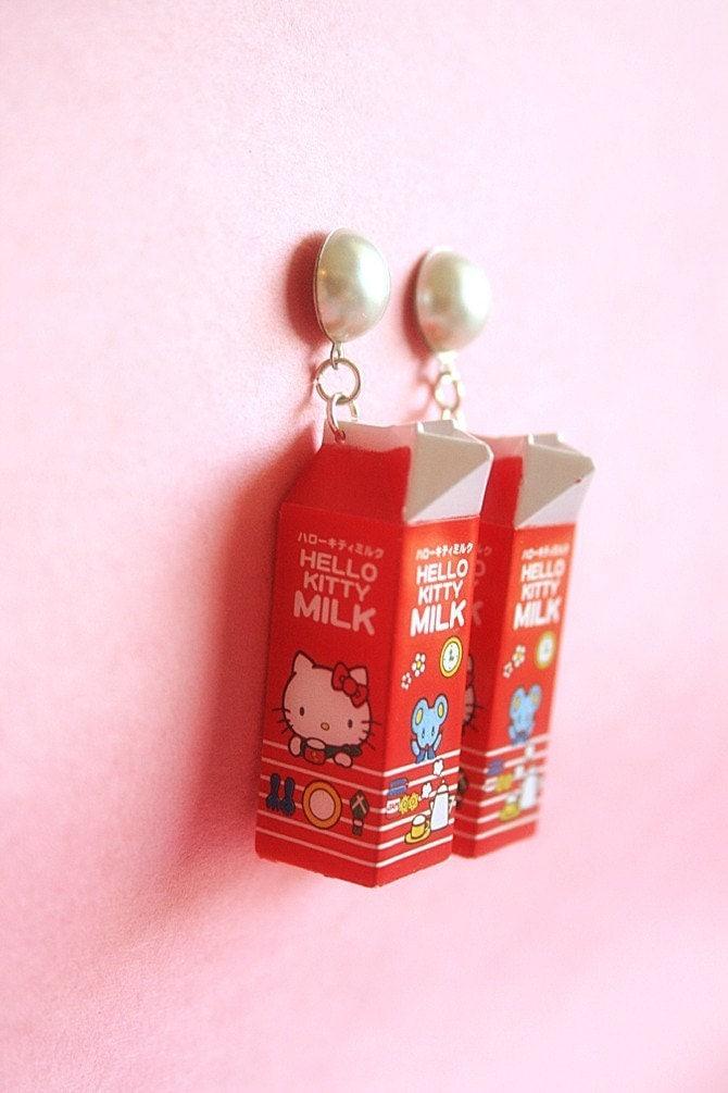 Hello Kitty milk carton earrings