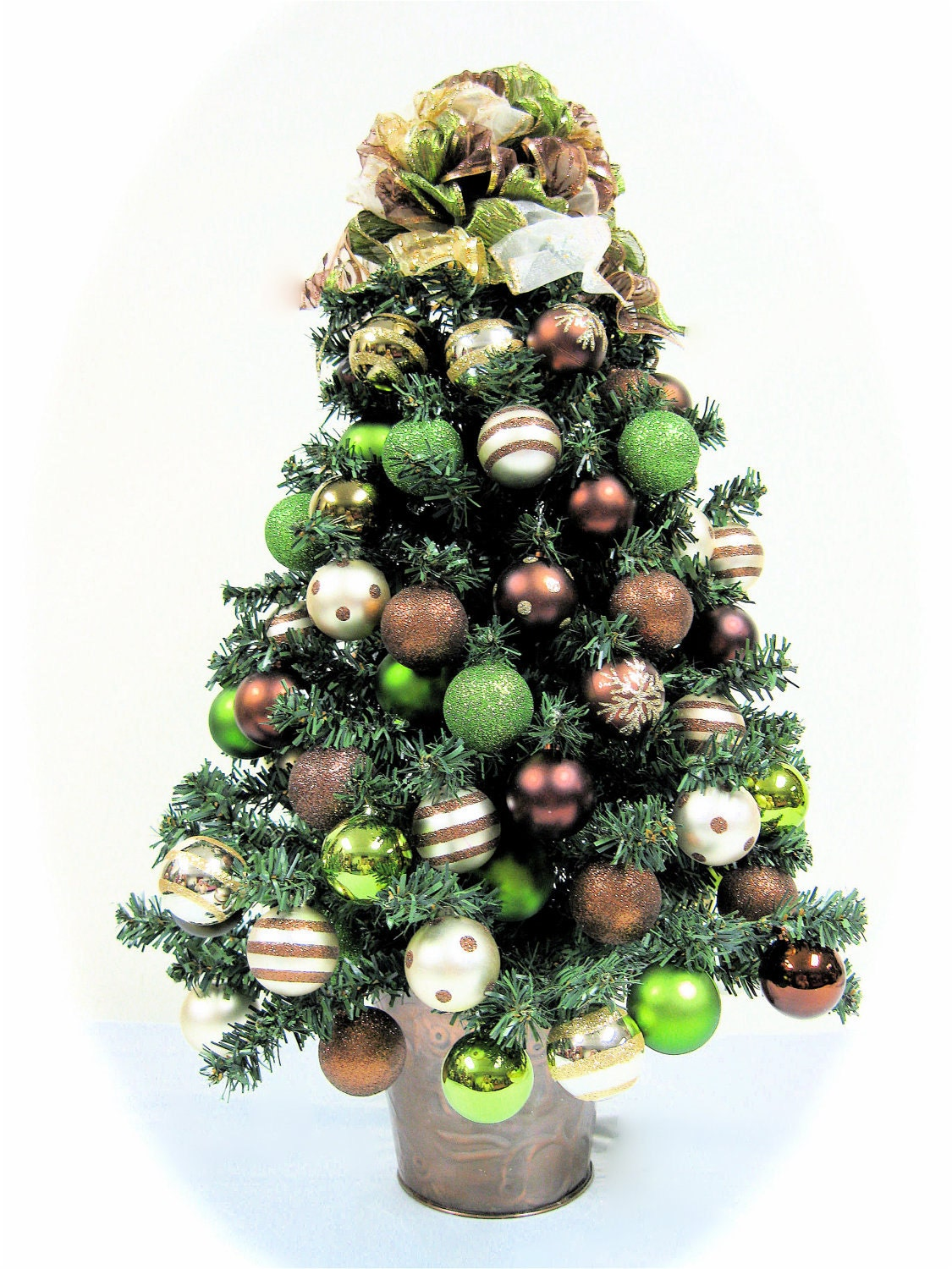Christmas Tree Table Top Bronze Brown Lime By