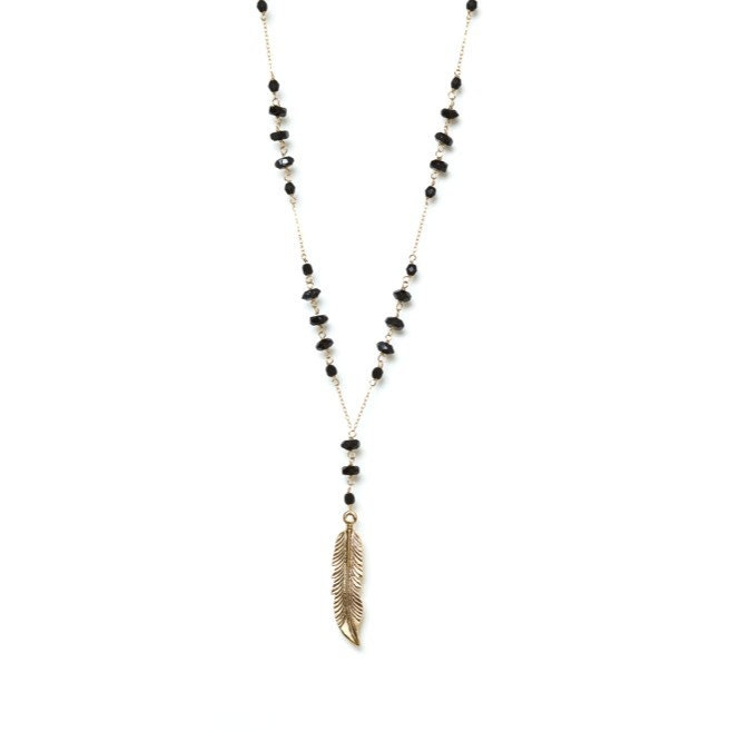 Feather Pendant Necklace - Jet Black Crystal