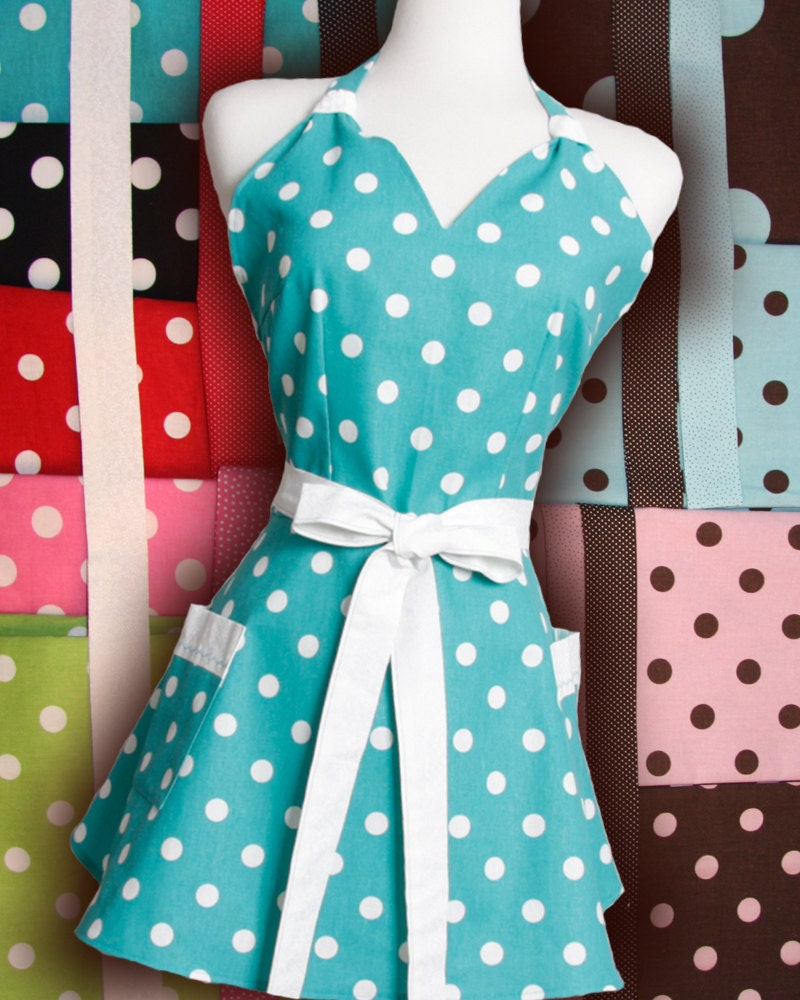 Pick your Polka dot color get a Vintage inspired apron The Elizabeth by Julie flirty retro Polka Dots your way