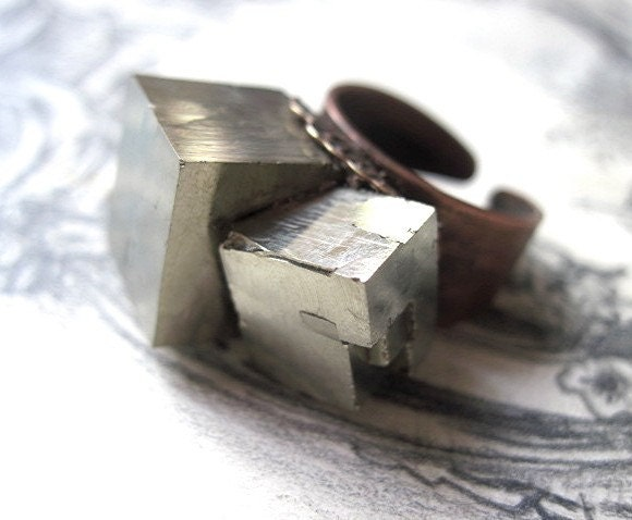 Blazing Unnatural Light. Pyrite Ring.