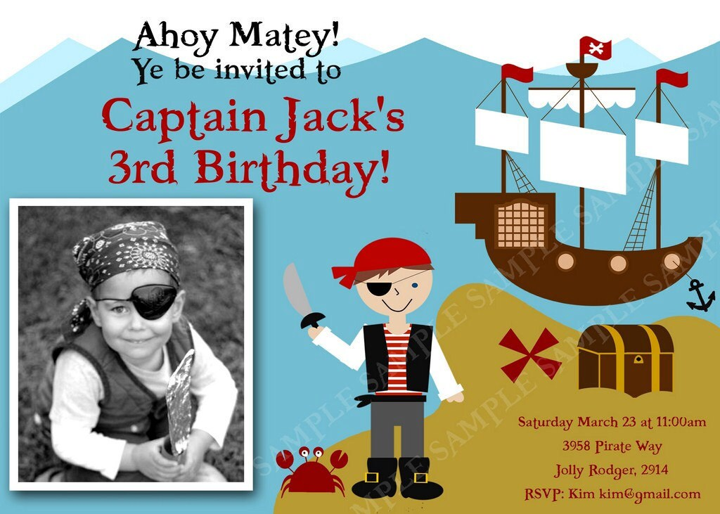 PIRATE PARTY Invitation with Pirate, Ship, Crab and Treasure chest. Printable file with PHOTO