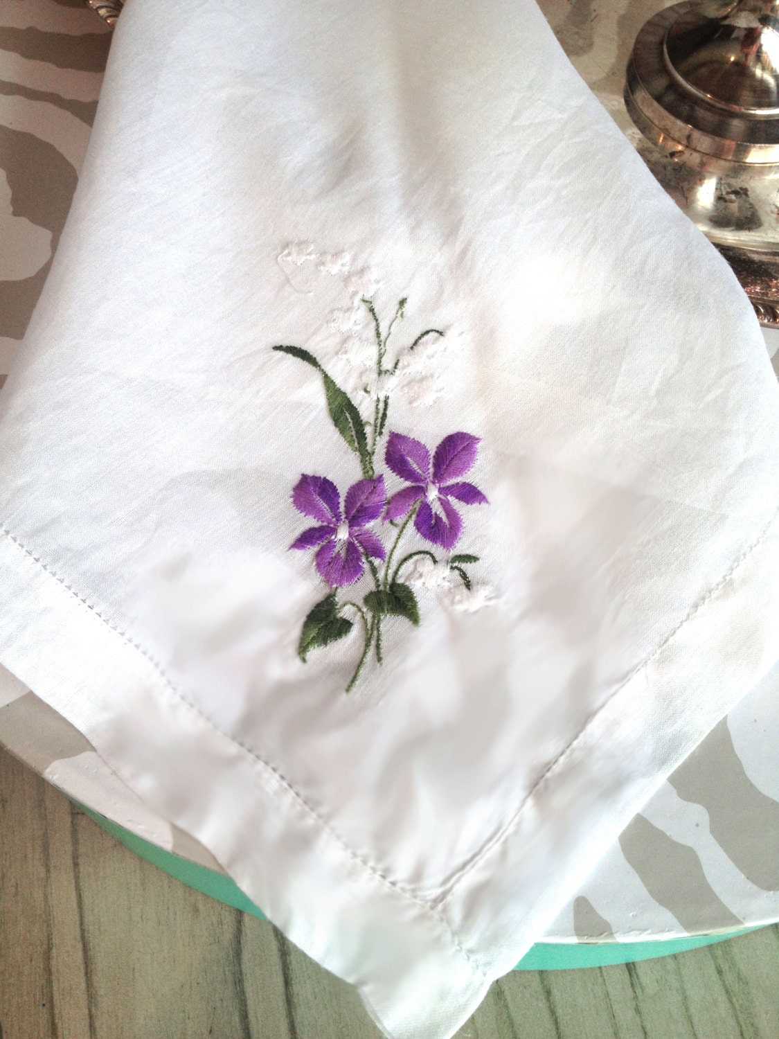 Vintage Handkerchief Vintage Hankies Handkerchiefs Embroidered Flowers Purple on White Hankie Wedding Keepsake Gift Hope Chest - TastefulTikes