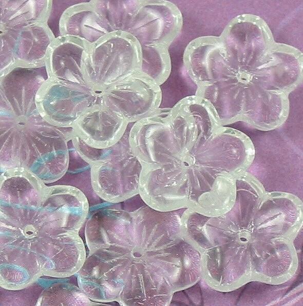 Three Petal Flower Czech Glass Bead Jet Black 12 Czech: Crystal Clear Glass Large Flat Flower Beads By Allthingsbeaded