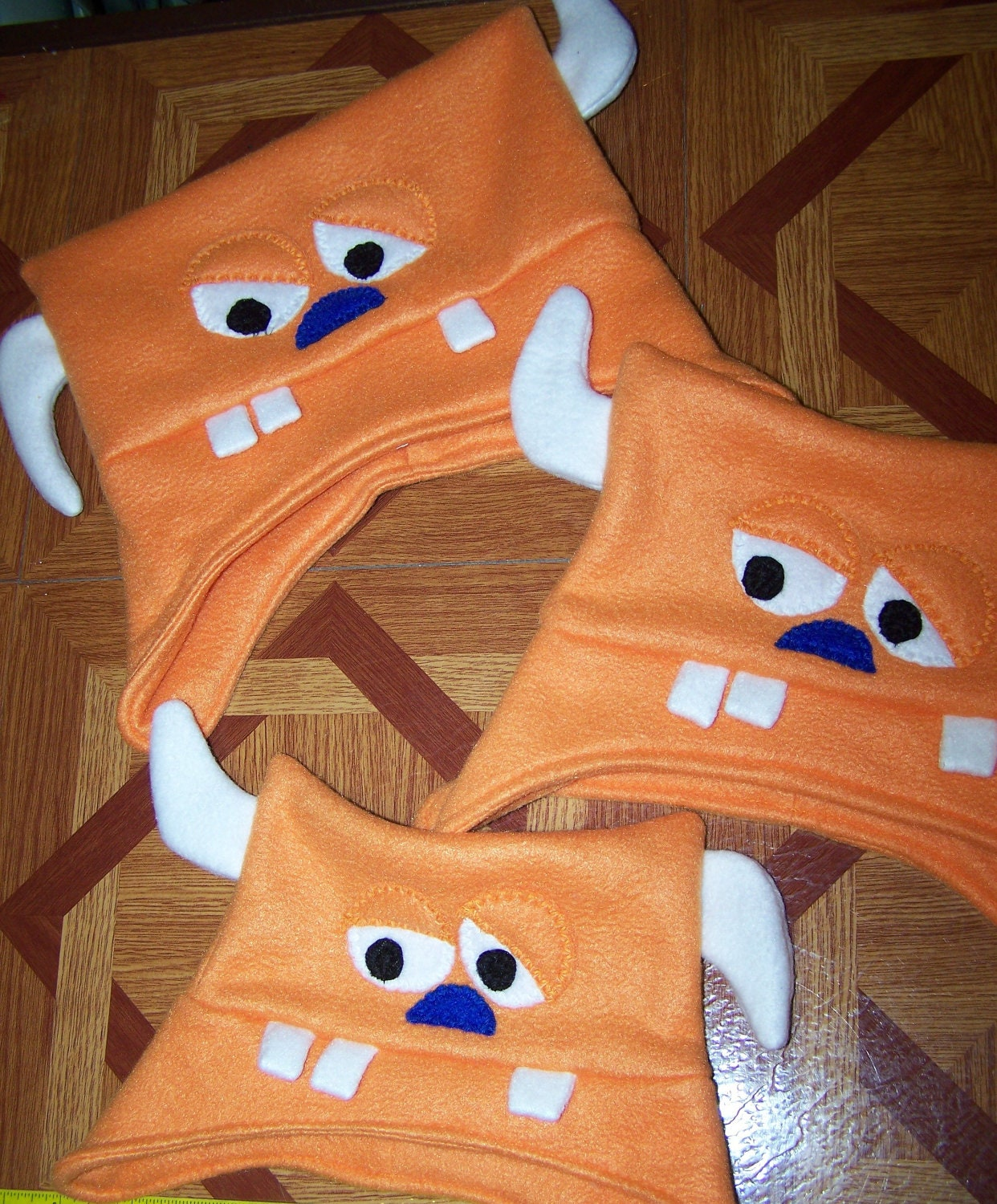 Monster Hat Orange Monster Fleece Hat with Two Horns and Two Eyes Toddler Kids Child Teen Adult with Matching Mittens - TheSewingFool
