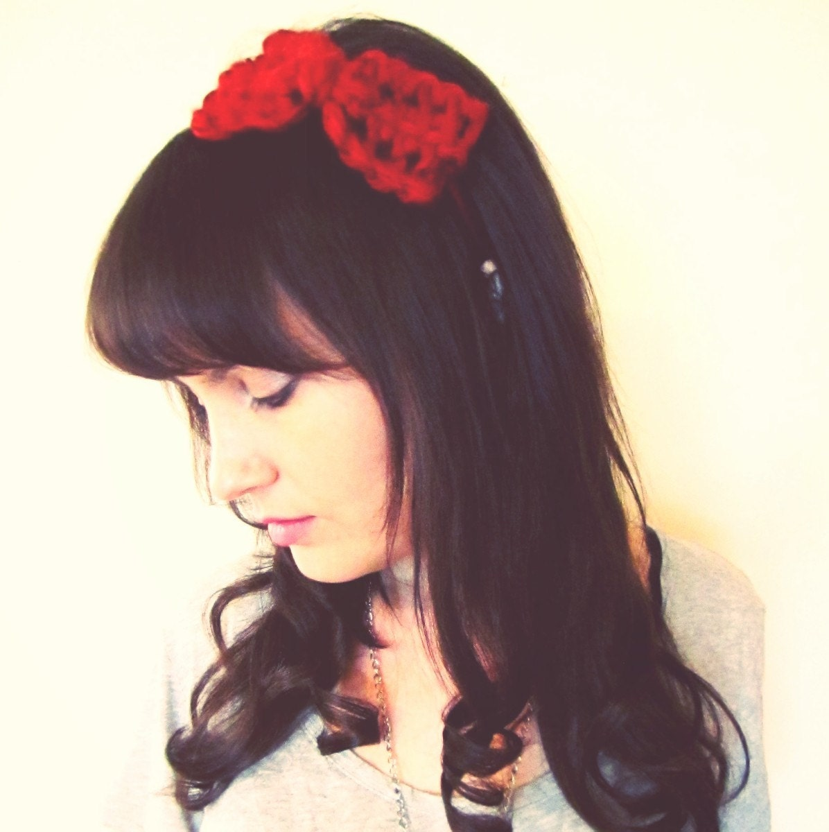 Big Bow Headband in Red Crimson - Crochet - Softspoken - VEGAN