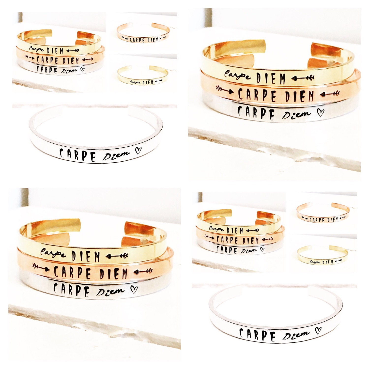 Womens Gift Ideas  Personalized Cuff Bracelet  Quote Gift  Carpe Diem  Gift ideas for her  Rose Gold Bracelet  Gold Bracelet (C136)