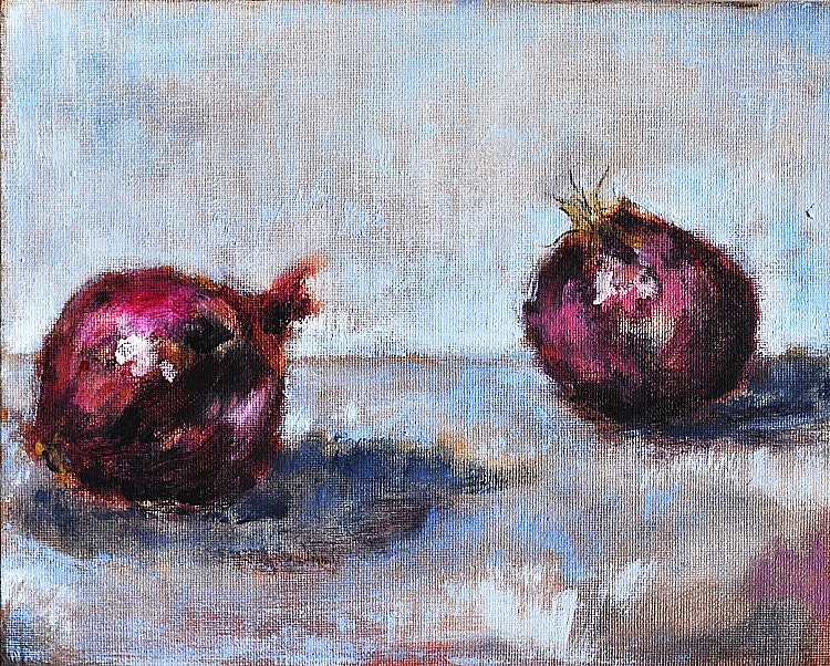 Red Onion Still Life Original Fine Art Painting
