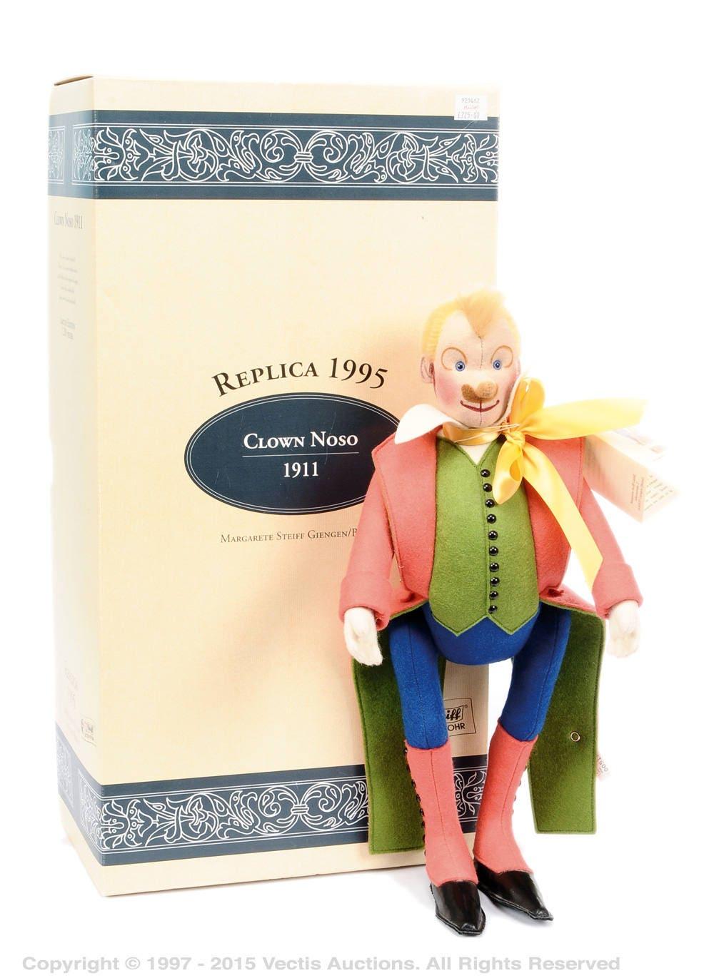 Steiff Limited Edition collectable vintage NOSO felt 1911 replica felt clown mint in box Sarrasani