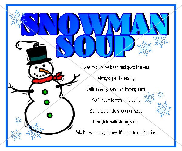 Snowman Soup Labels Snowman soup tag label