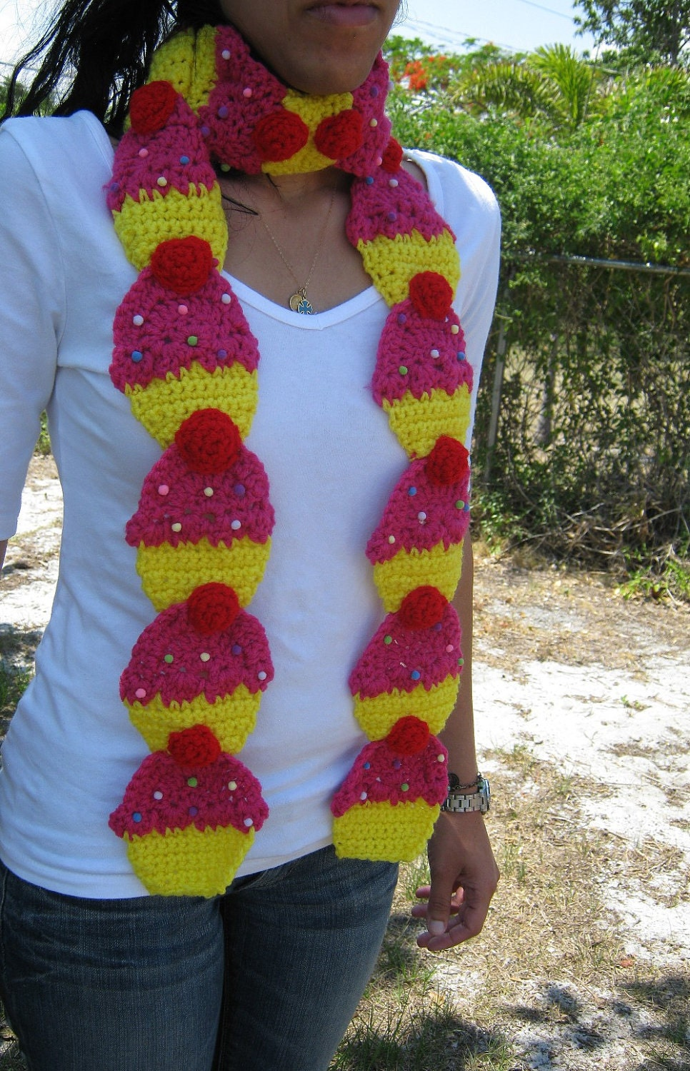 Cupcake Scarf yummy Berry Pink and Yellow with by PinkFrog4U from etsy.com