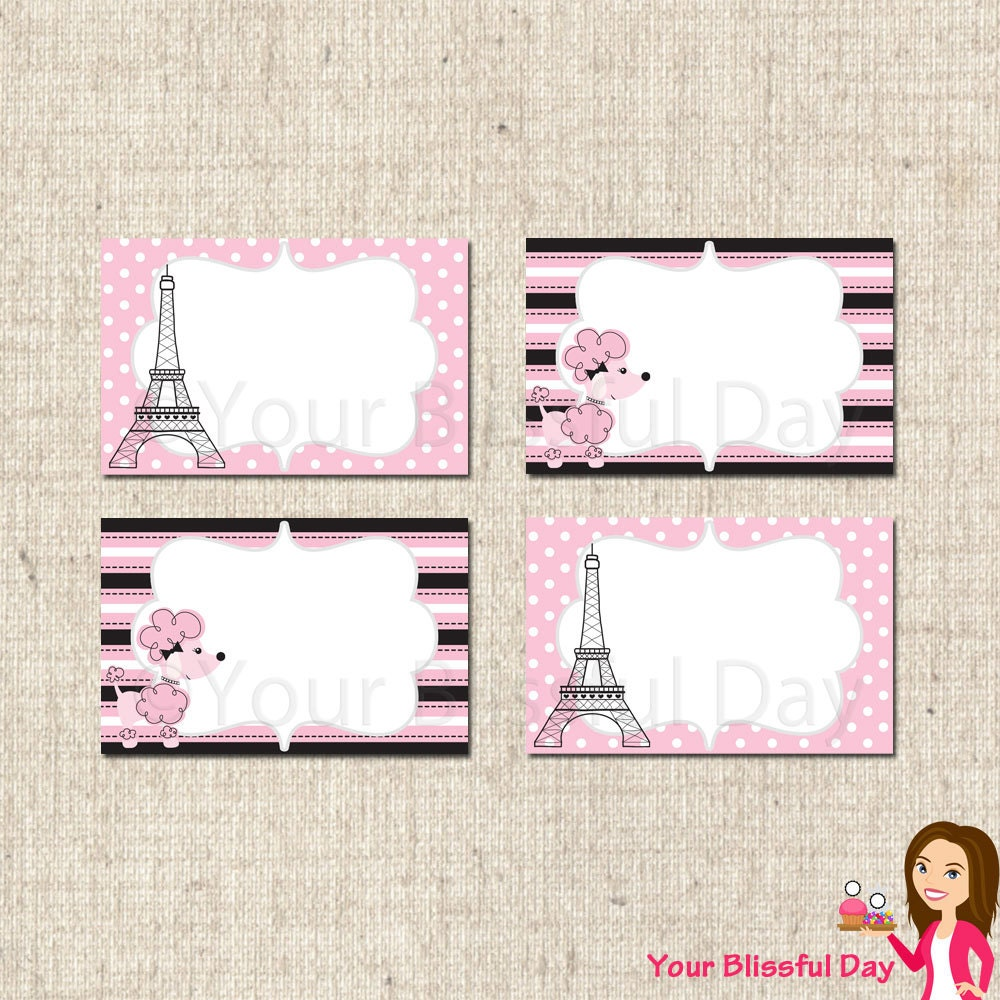 PRINTABLE Paris Party Label Tents by Your Blissful Day | Catch My ...