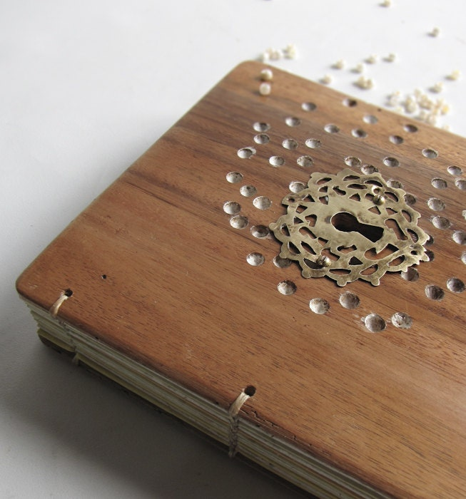 Wood Covered Book : Notebook diary wood covers blank book reclaimed by lacunawork