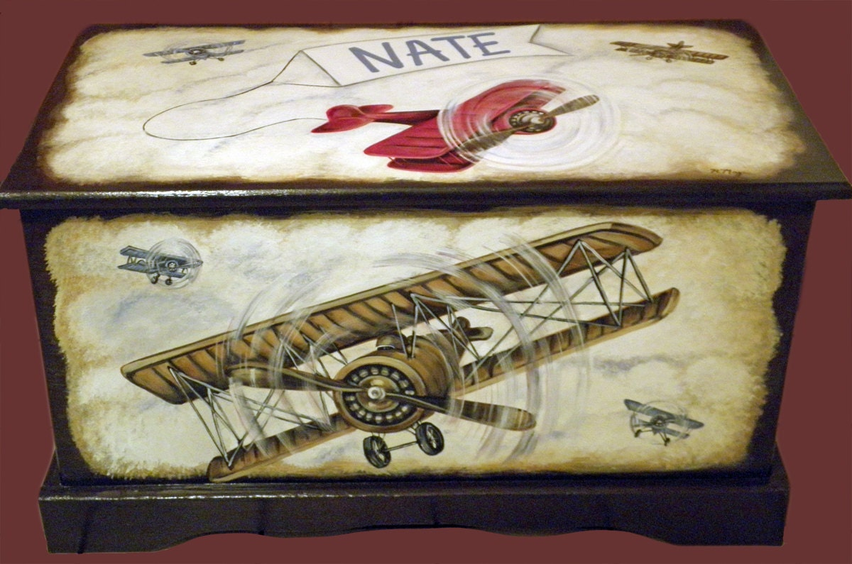 Vintage Airplane Toy Chest Custom Designed with an Espresso background ...