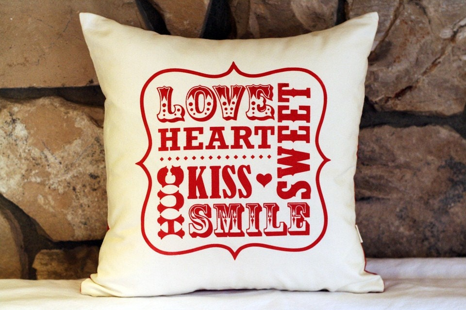 Love & Smile on Red and Cream Pillow Cover