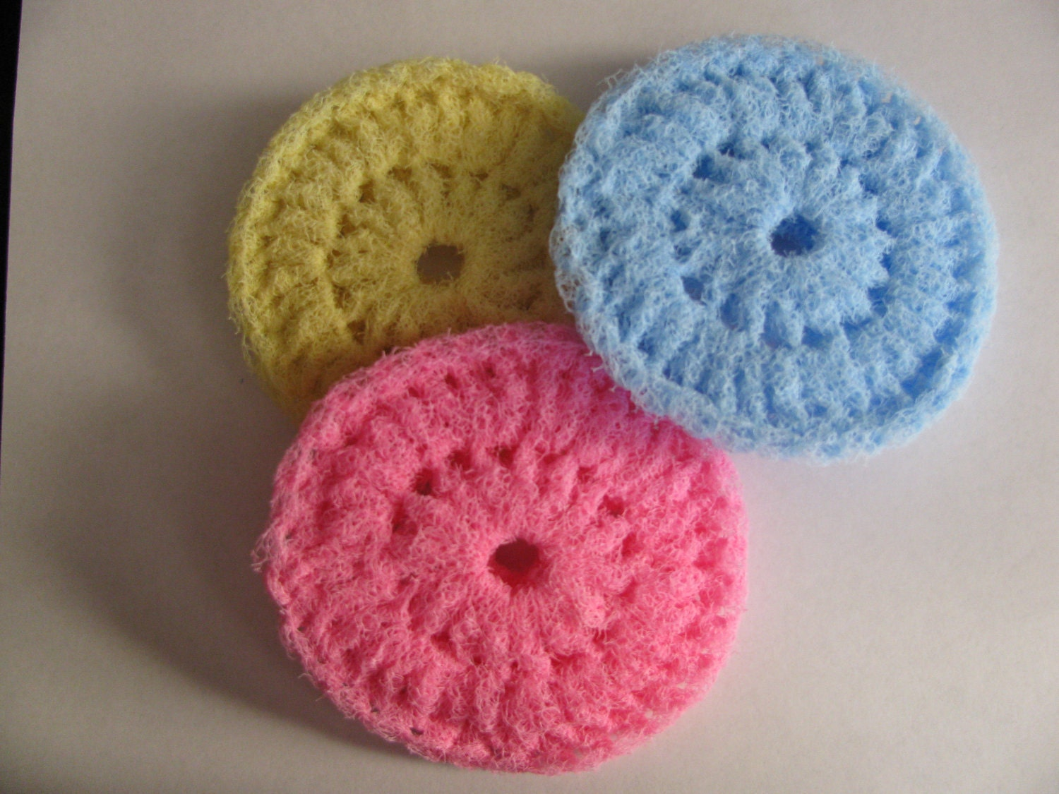 Crocheting Scrubbies With Netting : Crochet Scrubbies Set of 3 by MamawsCraftRoom on Etsy