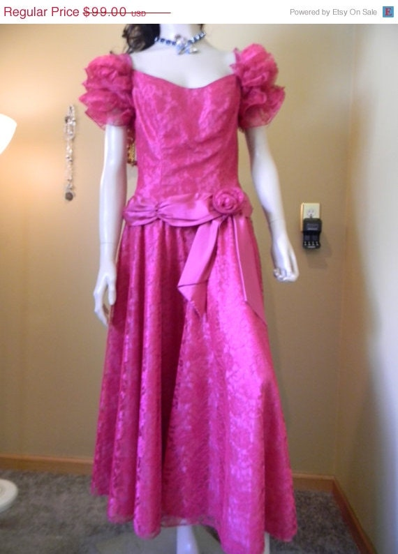 Raspberry prom dress vintage rose southern by for Wedding dress with swag sleeves