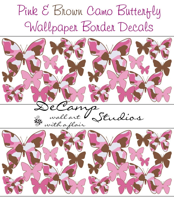 Pink Butterfly Wallpaper: PINK BROWN CAMO Butterfly Wallpaper Wall Border By