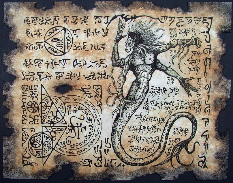 Cthulhu larp naga yig necronomicon page scroll magick occult witch