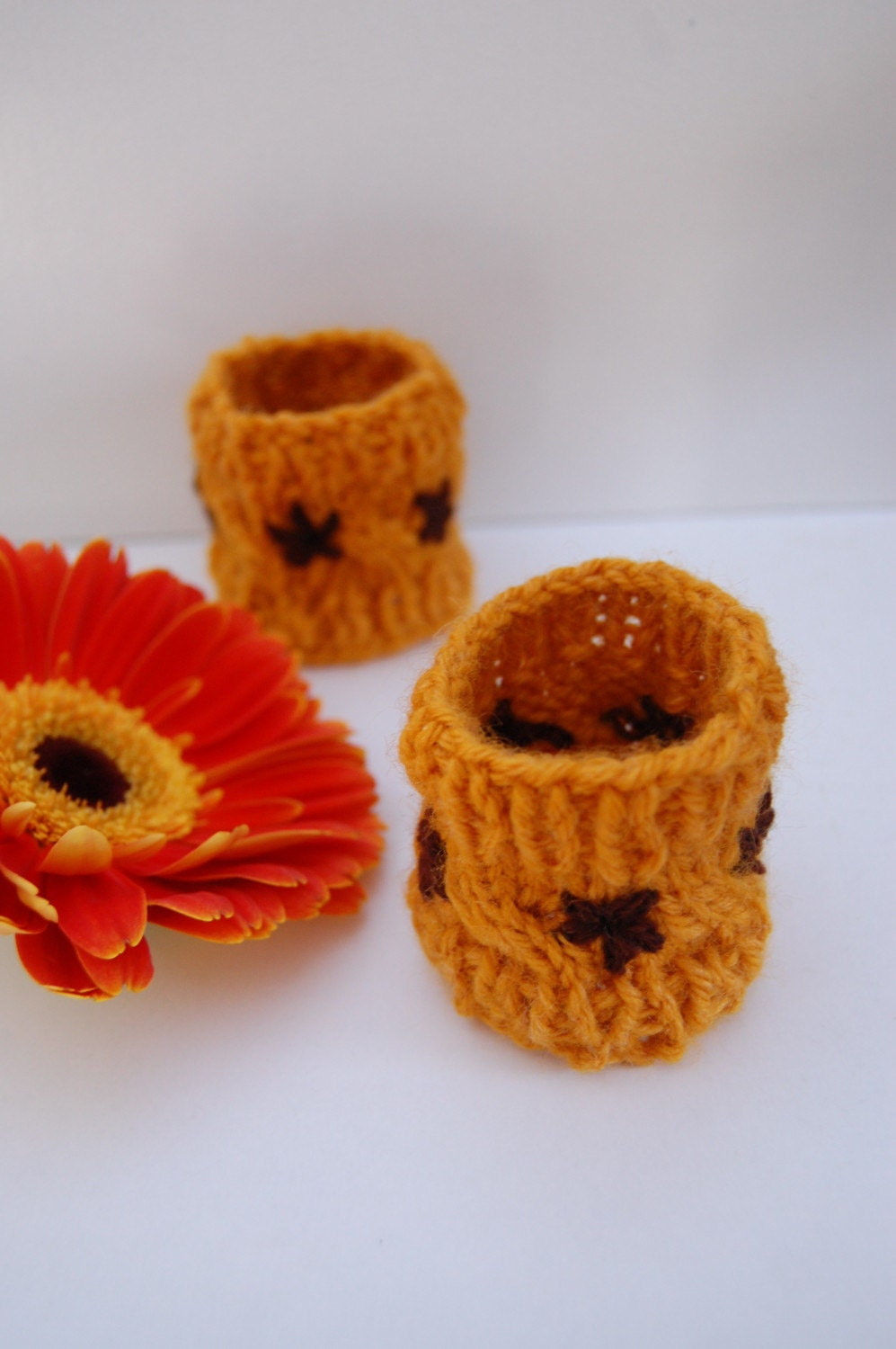 Brown Flower Yellow Knit Cuffs