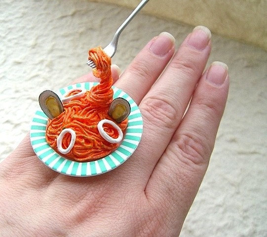 Kawaii Cute Japanese Ring- Pasta With Seafood
