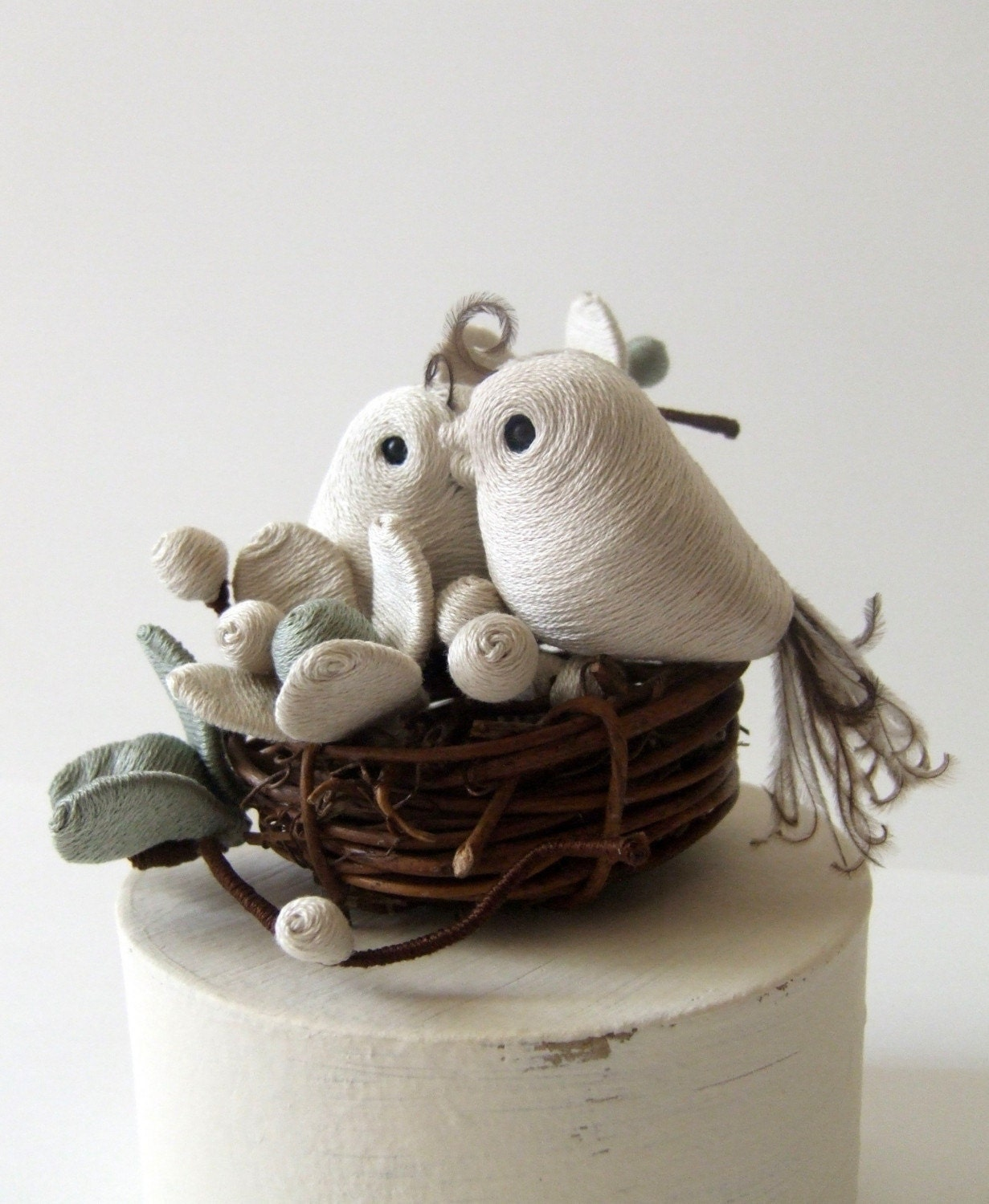 Petite Plumes Wedding NestBird Cake Topper by Perch52 on Etsy from etsy.com