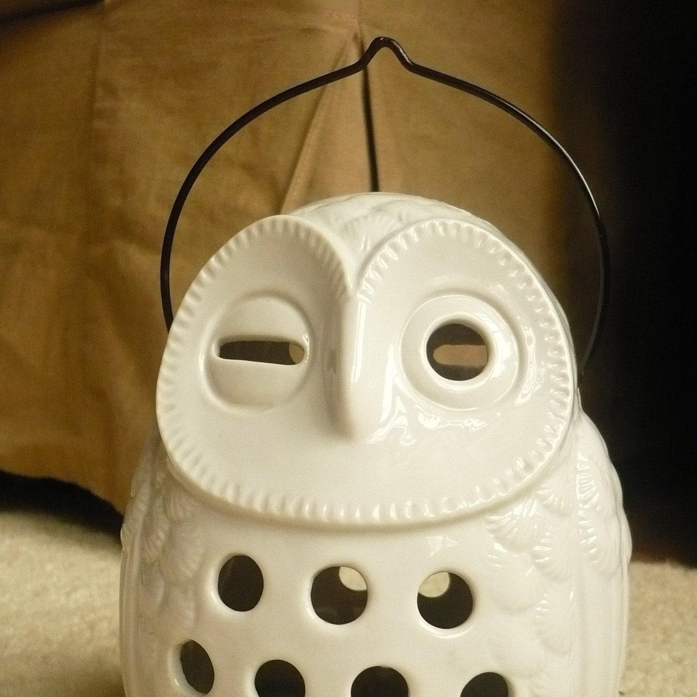 winking white owl lantern candle holder