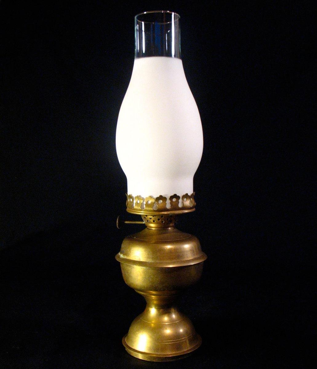 vintage brass oil lamp glass hurricane chimney by. Black Bedroom Furniture Sets. Home Design Ideas