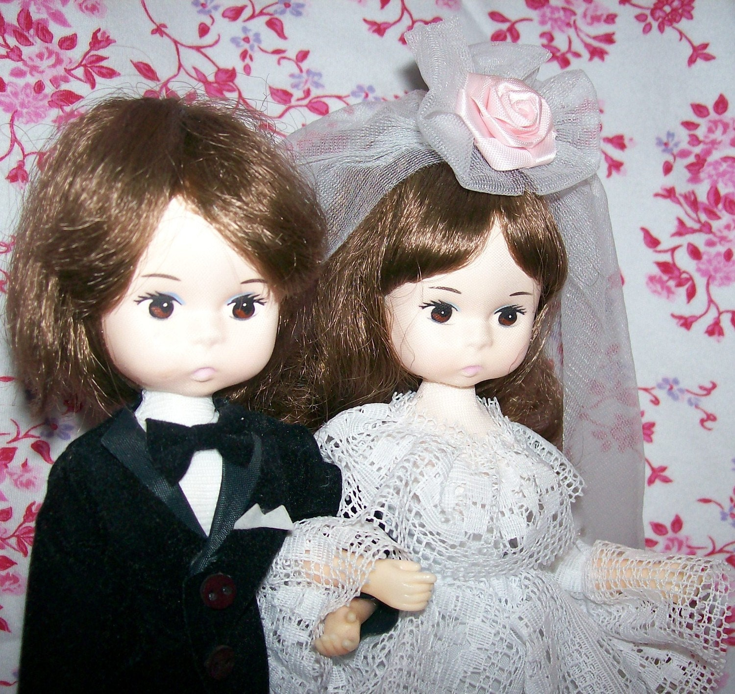 Vintage Bradley Bride And Groom Wedding Dolls